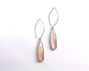 Soft Pink Teardrop Earrings, Gemstone Earring, Gemstone Jewelry, Dangle Earring,  Long Earring, Chalcedony Earring, Silver Jewelry, Gold