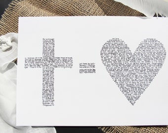 Cross = heart-Scripture Poster-Scripture card-God is love-cross equals heart