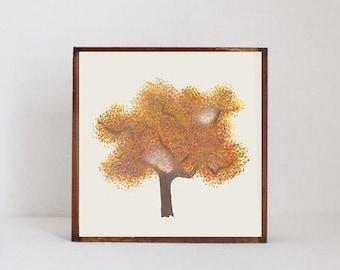 woodland nursery art- autumn tree art print- forest decor- nursery woodland art- tree print- nursery forest -tree decor- redtilestudio