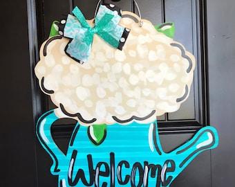 Spring Door Hanger- Flowers Door Hanger, Spring Door Decor, Flowerpot Door Hanger, Hydrangeas Door Hanger, Spring Decor