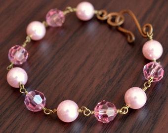 Pink Pearl Bracelet, Swarovski Crystal, Light Rose, Rosaline, Antiqued Brass, Rustic Bridal Jewelry
