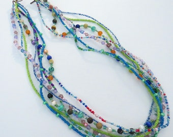 Multistrand green & blue necklace # 1