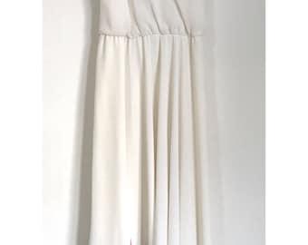 Vintage White Lizzy & Johnny Polyester Handkerchief Midi Dress