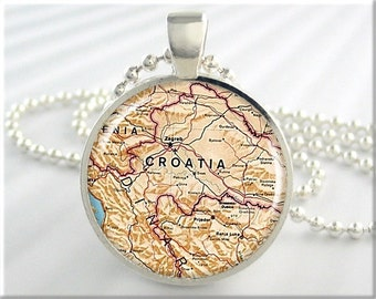 Croatia Map Pendant, Resin Charm, Eastern Europe Map Necklace, Picture Jewelry, Gift Under 20, Map Charm, Round Silver 713RS