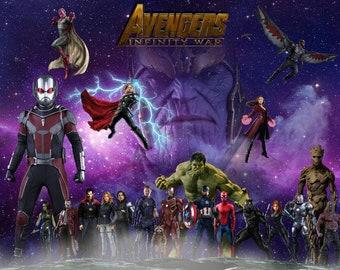 MARVEL INFINITY WAR Thanos Superhero 2018 Movie Colourful Wall Art Canvas Picture Print Various Sizes Thor Captain America Iron Man Hulk