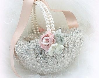 Wedding Flower Girl Basket Silver Rose Blush, Sequin Girl Basket with Pearls