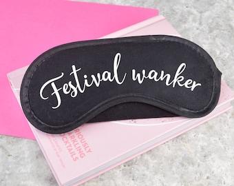 Festival wanker eye mask, adult humour sleep mask, cotton eye mask, festival accessory