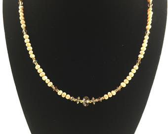 Gold and Beige beaded necklace