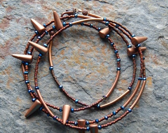 Metallic spiked necklace set - copper and midnight blue - multiwrap necklace and bracelet set - rocker - alternative  -  cool necklace