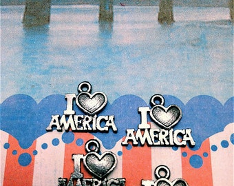 I love America Charms ---5 pieces-(Antique Pewter Silver Finish)--style 771--