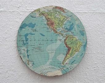 World map vintage etsy uk antique wooden western hemisphere world globe map wall plaque panel gumiabroncs Images