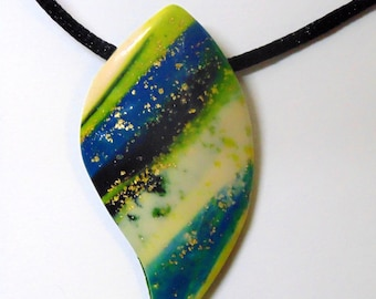 Abstract Pendant Necklace With Hints of Golden Flakes for Women by Rose Jewelry