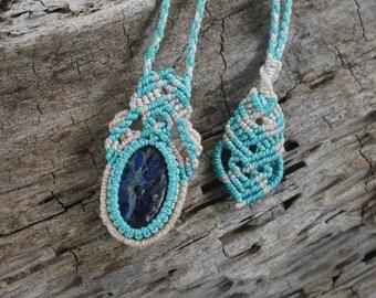 Handmade Natural Gem Macrame Sodalite Necklace / Metal Free