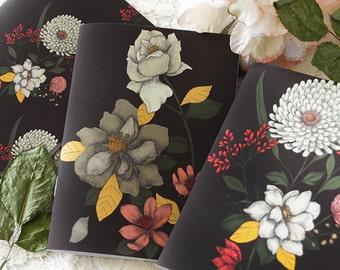 Notebook set- Illustrated notebooks - floral covered notebooks - floral - botanical - Bouquet