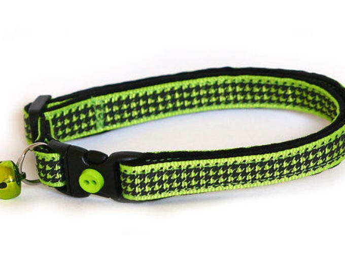 Houndstooth Cat Collar - Apple Green - Small Cat / Kitten Size or Large Size Collar