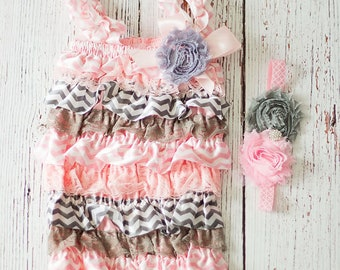 Easter Outfit, First Easter Outfit, Pink Gray Easter Outfit, Baby Girl Lace Romper, Pink Romper, 1st Easter Outfit, Lace Romper,