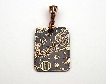 Copper kokoro pendant, Emil Orlik, small flat rectangular etched metal jewelry, Asian inspired birds, 25mm