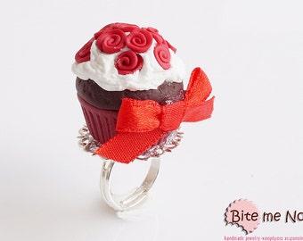 Red Rose Cupcake Ring Mini Food Jewelry - Miniature Food Jewelry, Handmade Ring, Polymer Clay, Dollhouse Miniatures, Foodie Gift, Kawaii