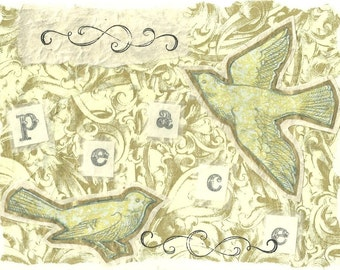 Peace, Doves and Swirls Card