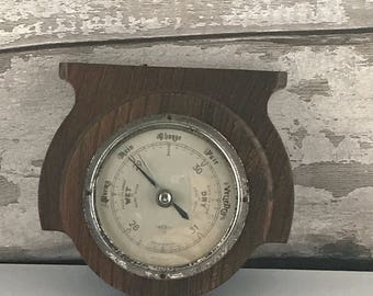 Vintage 1930's Barometer,Vintage Barometer with Wooden Surround, vintage home, weather forecast