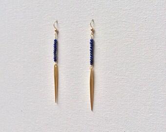 Gold Spike Blue Lapis Earrings, Gold Spear Earrings, Dagger Earrings, Bohemian Chic Jewelry - Indira Boheme