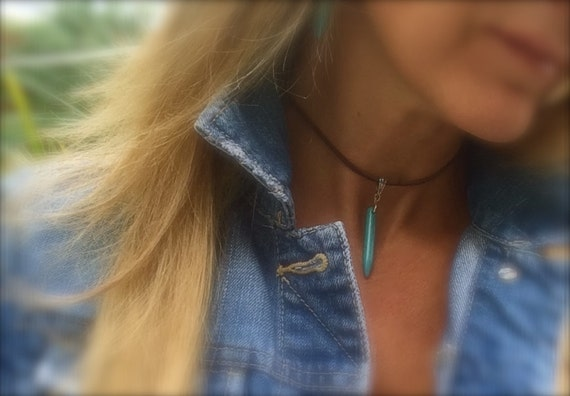 Choker Turquoise Choker Leather Choker Boho Choker Gypsy Hippie Silver Beach Beaded Turquoise Spike Necklace Gifts for Her Suede Leather