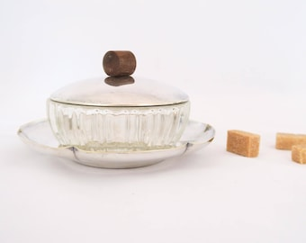 Vintage French Thick Glass & Silver Plated Sugar Bowl with Lid, Biscuit Box, Biscuit Tin, Carved Glass, Tableware, Art Deco, France, 1970's