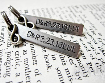 Custom Stamped His & Hers Keychain Set of Two - Personalized Aluminum Tag with Infinity Charm