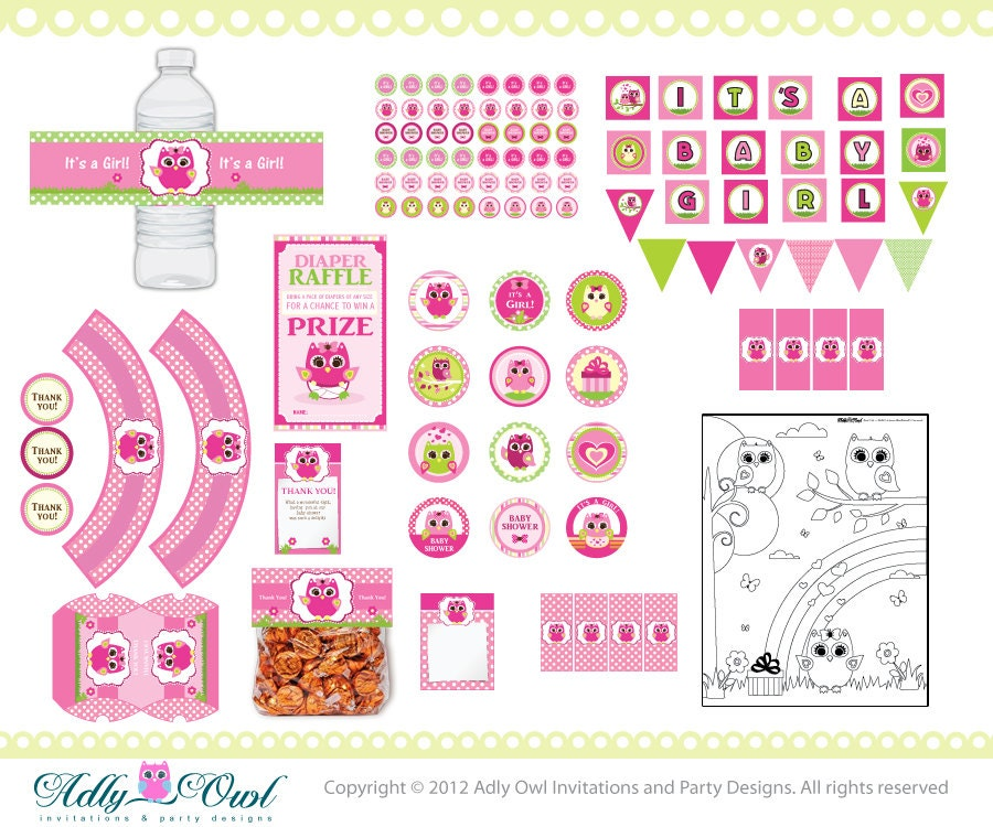 Pink Owl Baby Girl Shower Printable Party Kit with girl baby