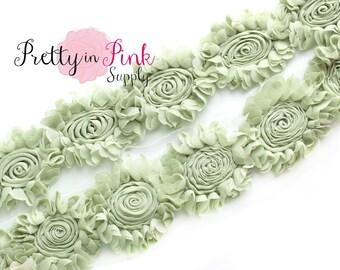 CHIFFON SWIRL Sage Green Shabby Rose Trim - Shabby Chiffon Rosettes -You Choose Quantity - Shabby Flower Trim - Wholesale Shabby Flowers