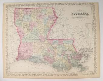Antique Map Louisiana Original 1858 Mitchell DeSilver Louisiana Map, Southern State LA Map, Gulf Coast Decor, Historical Map Louisiana Gift