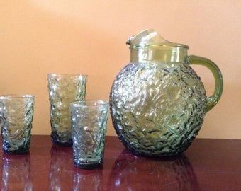 Vintage Milano Glass Pitcher and Glasses - Vintage Green Pitcher
