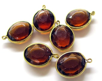 Vintage Lucite Topaz Oval Charms 10