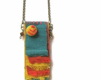 indian corn linen textiles necklace, layered tribal pendent, fall fashion fabric necklace on antiqued bronze chain