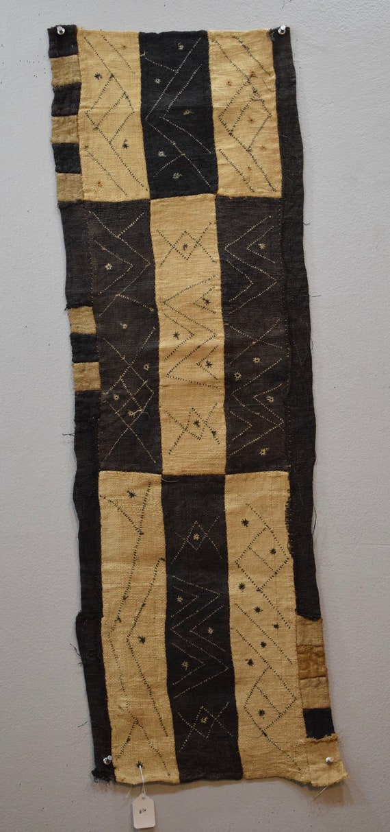 African Kuba  Natural Woven Raffia Congo Handmade Fabric Kuba Cloth