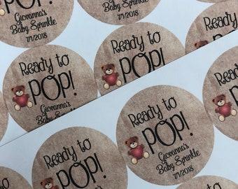 Ready To Pop Stickers, Ready to Pop, Ready to Pop Baby Shower, Custom Stickers, Animal Stickers, Baby Shower Stickers Labels, Custom Sticker