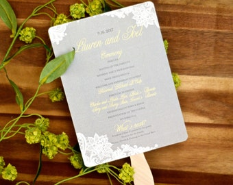 Vintage Lace with Gray and Butter Yellow Wedding Program Fans // Wedding Ceremony Program // BP1
