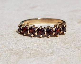 Gorgeous Seven Stone Garnet 9ct gold Stacking Band Ring