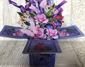 Teachers appreciation luxury card, thank you card, birthday card, pop up flower bouquet card, 3d card, box card, explosion card, greeting