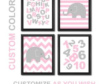 alphabet baby girl decor, abc girl nursery decor, elephant girls room art, alphabet kids room art, abc toddler girl decor, elephant baby art