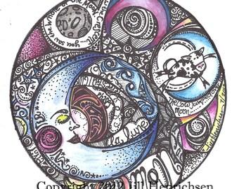 Color Moon Motif 8x8 Print
