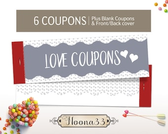 Anniversary coupons for men/women, Valentine's Day Gift for HIM/HER, Printable DIY Love Coupon Book, Instant Download Love Coupon Book