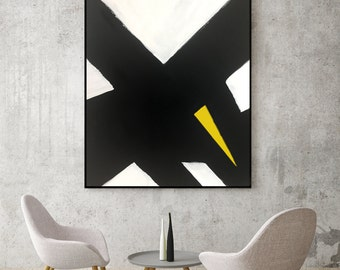 Abstract Black and White Yellow Canvas Painting for Modern Room Modern Living Room Modern Bedroom Art Abstract Black and White Dining Room