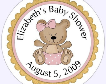 Pink Teddy Bear Baby Shower Labels, Stickers - baby shower sample - Personalized for YOU