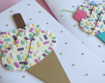 Ice Cream and Cupcake Greetings Cards Set of 2 // Handmade Birthday Card or Invitation // Handcrafted // Papercraft // Papercut