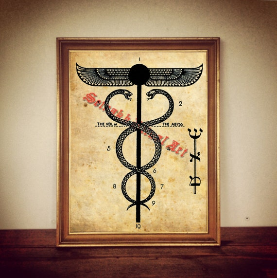 Snake Caduceus Ancient Egyptian Winged Sun Symbol Print