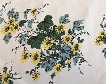 Vintage Wilendure Tablecloth, Printed Blue Yellow Floral Cotton, Harder to Find Pattern, 42 x 46