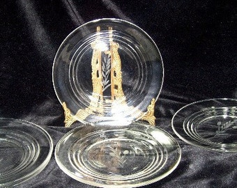 Vintage Cut Glass Salad plates -  -   Thistle Pattern - Crystal