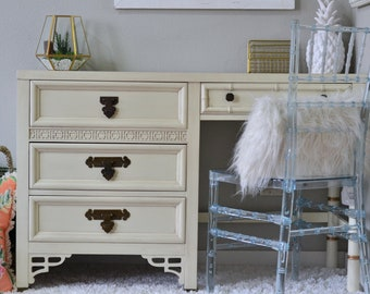 SPRING SALE! 25% OFF! Shangri La Dixie White/Gold Hollywood Regency writing desk with Ghost Chair