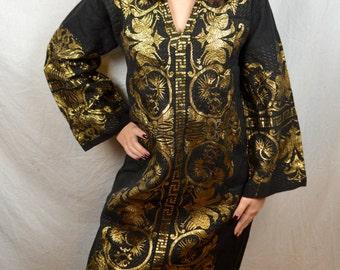 Vintage GreekWoven Metallic Folk Caftan Embroidered Black and Gold Hippie WOW Dress